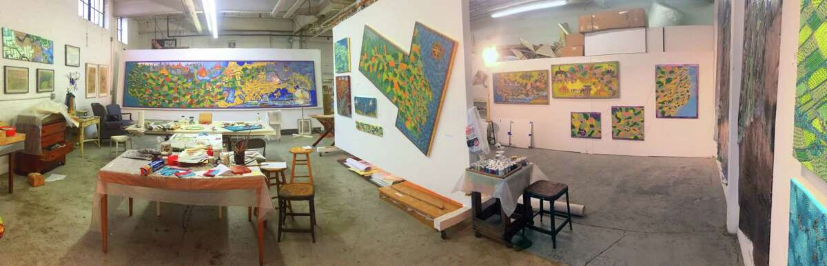 A panoramic view of the Leila Daw studio.