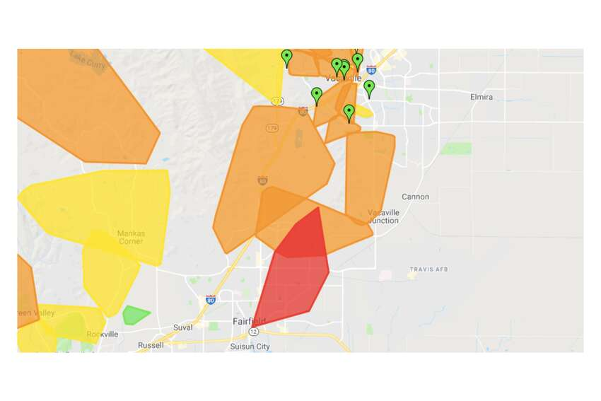 Power outages in Fairfield and Suisun City at 9:30 a.m. Wednesday.