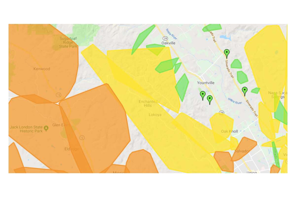 Outages along the Napa-Sonoma County border at 9:30 a.m. Wednesday.