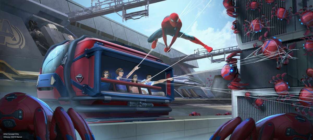 The Avengers Campus will open in 2020 at Disney California Adventure at Disneyland Resort, including the first Disney ride-through attraction to feature Spider-Man. The attraction will give guests a taste of what it's like to have actual super powers as they sling webs to help Spider-Man collect Spider-Bots that have run amok.