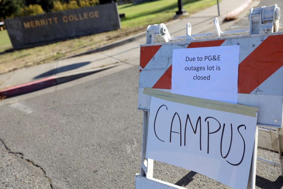 Merritt College campus is closed in preparation for planned PG&E power shutoffs in Oakland, Calif. on Wednesday, Oct. 9, 2019.