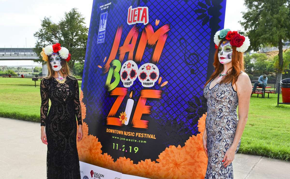 Models Niky Eakin and Brenda Saenz dress up as catrinas during Laredo Main Street's announcement of the UETA Jamboozie 2019 Dowtown Music Festival to be held on November 2, 2019 at Tres Laredos Park. Headlining the festival will be Fito Olivares.