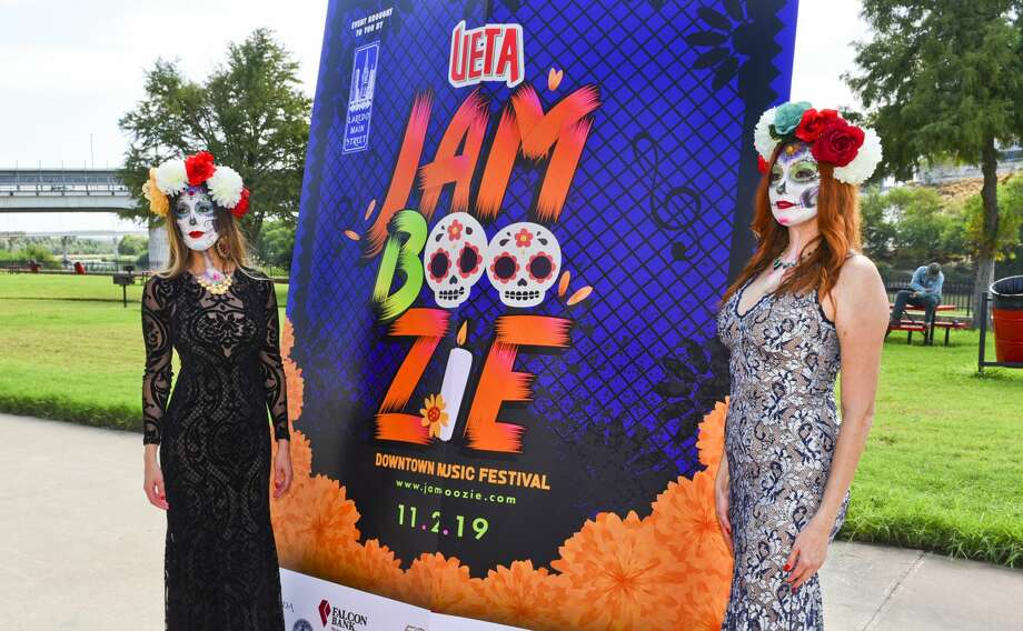 Models Niky Eakin and Brenda Saenz dress up as catrinas during Laredo Main Street's announcement of the UETA Jamboozie 2019 Dowtown Music Festival to be held on November 2, 2019 at Tres Laredos Park. Headlining the festival will be Fito Olivares. Photo: Danny Zaragoza/Laredo Morning Times
