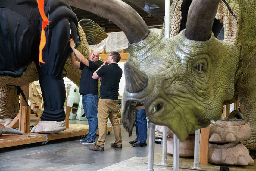 Behind the scenes: A Triceratops in Jurassic World Live Tour (Feld Entertainment)