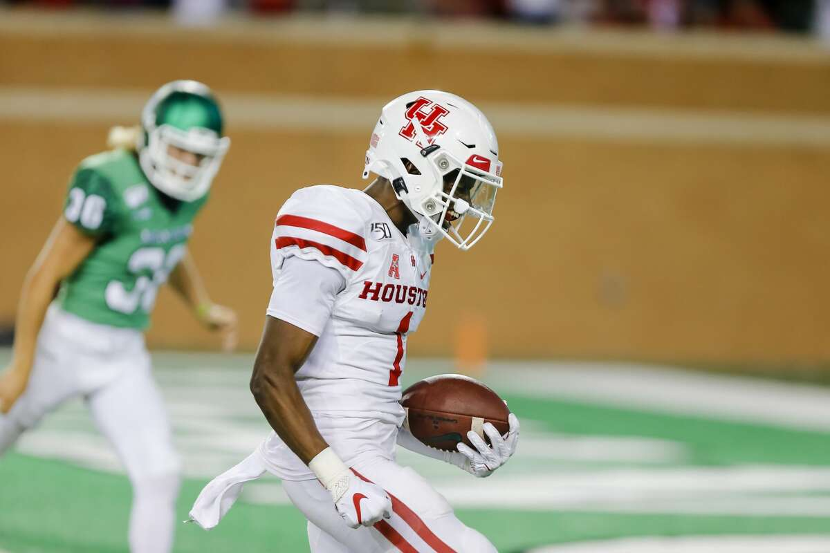 DENTON, TX - SEPTEMBER 28: Houston Cougars wide receiver Bryson Smith (1) returns a punt for a touchdown during the game between the North Texas Mean Green and the Houston Cougars on September 28, 2019 at Apogee Stadium in Denton, Texas. (Photo by Matthew Pearce/Icon Sportswire via Getty Images)
