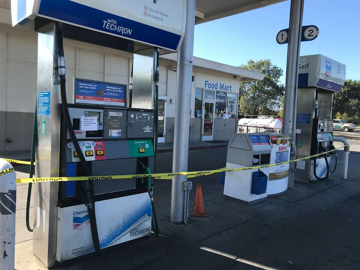 A gas station in Napa, Calif., is closed Wednesday, Oct. 9.