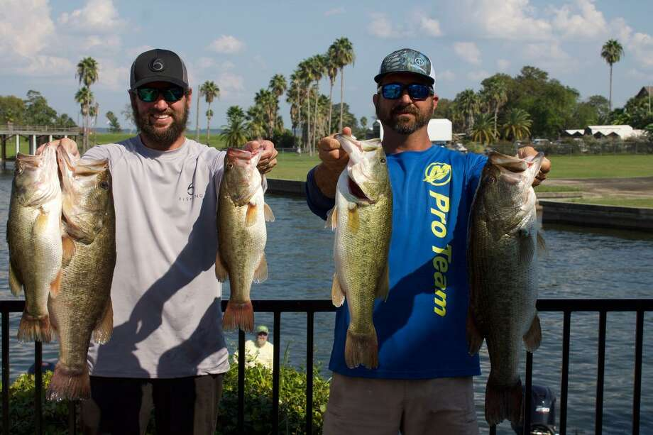 Taylor Robbins and Clint Lipham won the CONROEBASS Tuesday Team Series Championship with a stringer weight of 29.52 pounds.  They also had the tournament big bass that weighed 9.19 pounds. Photo: Conroe Bass