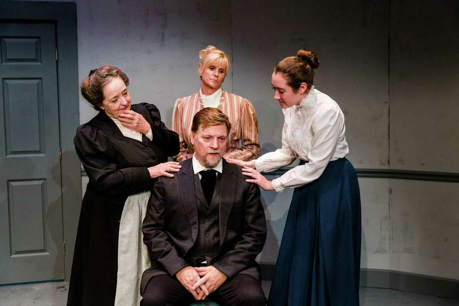 """A Doll's House, Part 2"": Michael Schaefer (front) (ladies l to r) Carol Charniga, Cristine M. Loffredo, Maddie Illenberg. (Schenectady Civic Players) Photo: Jenn Moak / Jenn Moak Photography"
