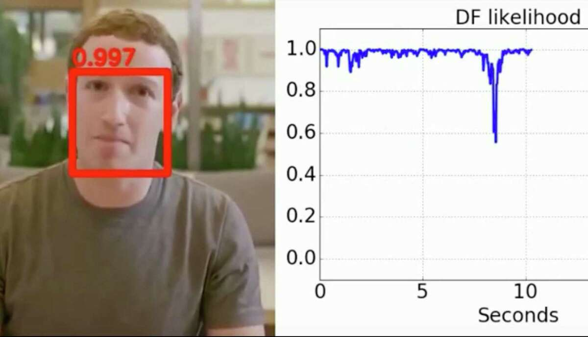 University at Albany Computer Science Professor Siwei Lyu has created an algorithm to detect altered photos and videos known deepfakes. Here the algorithm screens a fake video of Facebook founder Mark Zuckerberg. (Youtube)