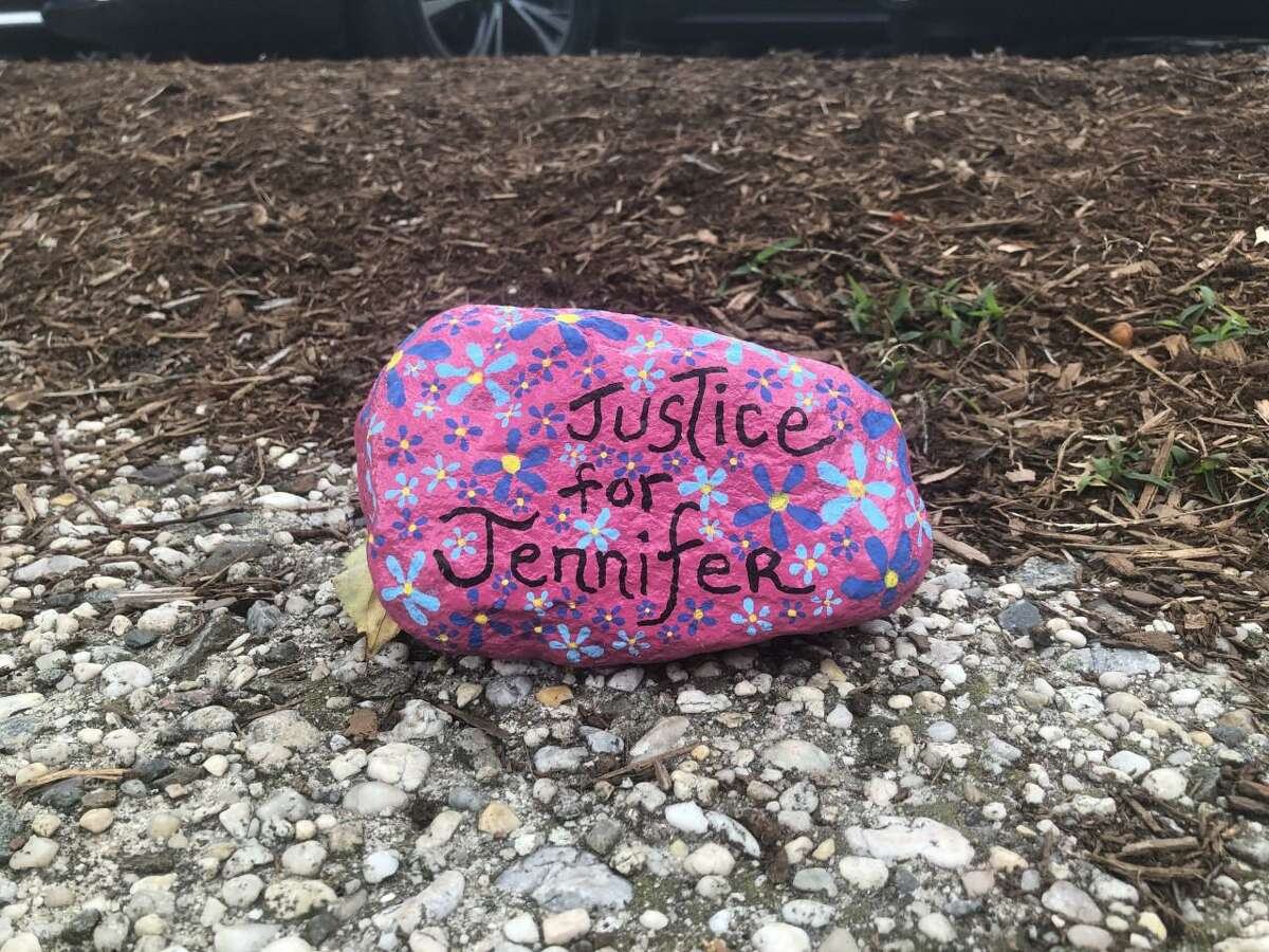 """Another rock that says """"Justice for Jennifer"""" is found on a stonewall on Main Street in New Canaan, Connecticut on Monday, Oct. 7, 2019, in the fight for the missing New Canaan woman, and mother, Jennifer Dulos. Contributed photo"""