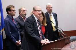 State Sen. Kevin Kelly speaks at a press conference on Oct. 8 announcing the launch of Healthscore CT's cost estimator tool.
