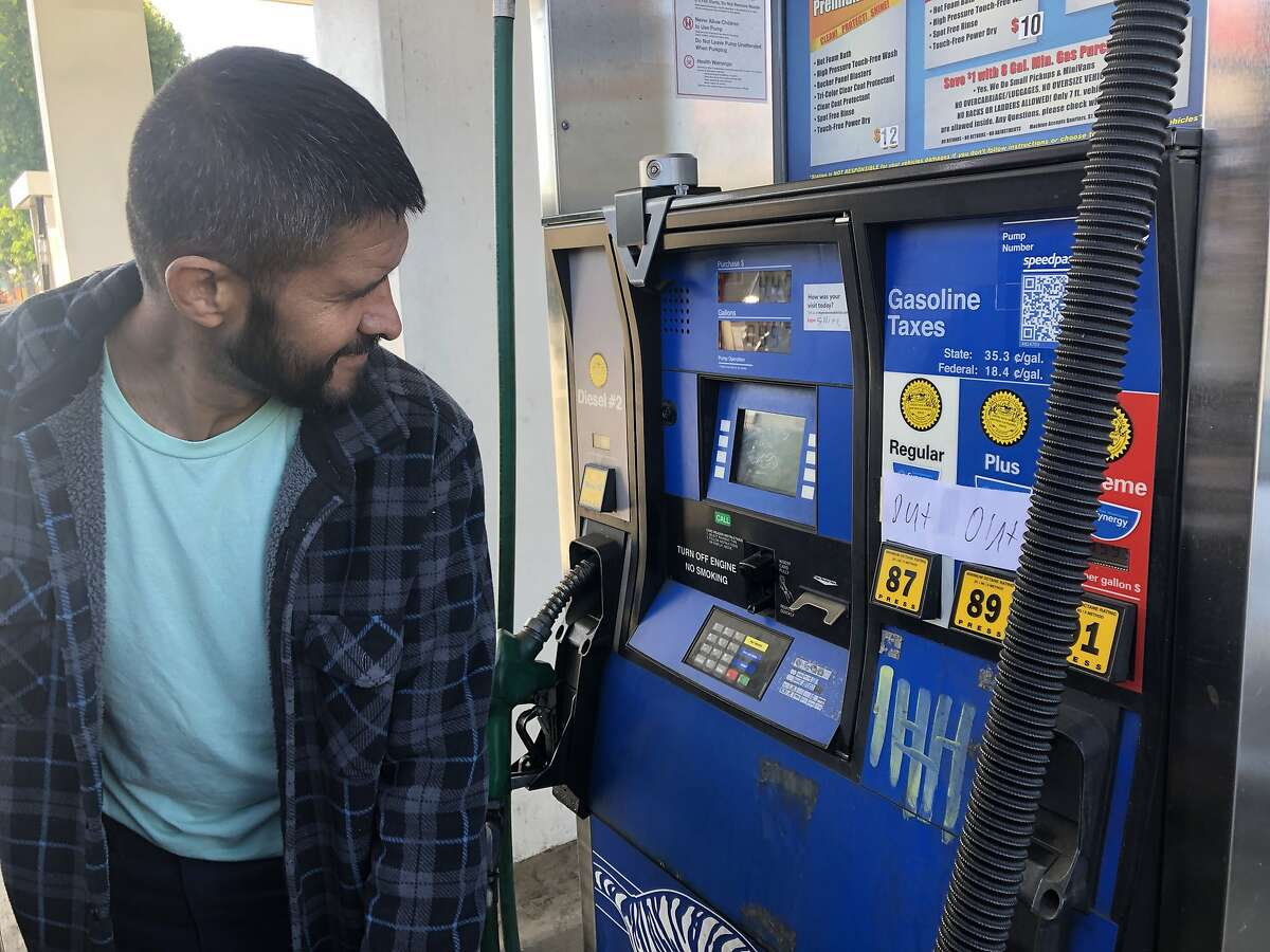 The Exxon on San Pablo Ave. in El Cerrito was out of regular and plus gas Wednesday, Oct. 9, 2019 and Supreme was running low because of PG&E's pending power outage. Gabriel Ramos, 38, who lives in Alameda but was on a home construction job in El Cerrito, was just filling up a bit of Supreme because he was expensive.