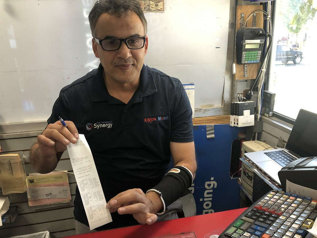 The Exxon on San Pablo Ave. in El Cerrito was out of regular and plus gas and Supreme was running low because of PG&E's pending power outage. Here manager AI Alezzani shows his low inventory on Wednesday, Oct. 9, 2019. He will close during the outage.