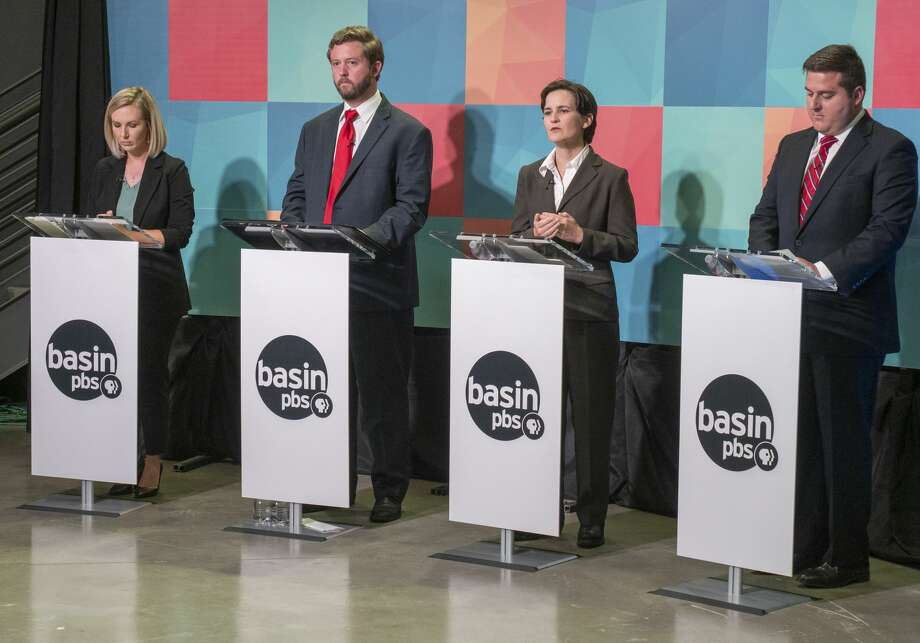 Midland City Council district 3 candidates, from left, Robin Poole, Jack Ladd Jr., Kathryn Chandler and EJ Baldridge answer questions Tuesday evening during a debate at the Basin PBS studio. Photo: Tim Fischer/Reporter-Telegram / Midland Reporter-Telegram