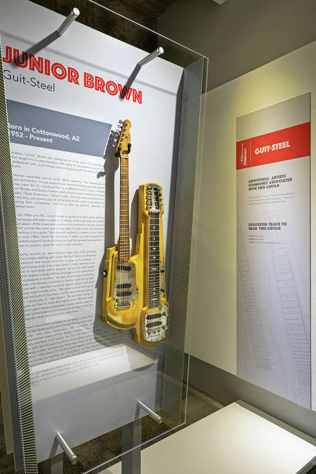 One of Junior Brown's guit-steels, known as 'Old Yeller,' is part of Wire & Wood: Designing Iconic Guitars, curated and produced by W. Todd Vaught and Lisa S. Johnson, at the Museum of Design Atlanta. Photo: MODA / Copyright © 2019 Brian C. Robbins, Robbins Photography, Inc.