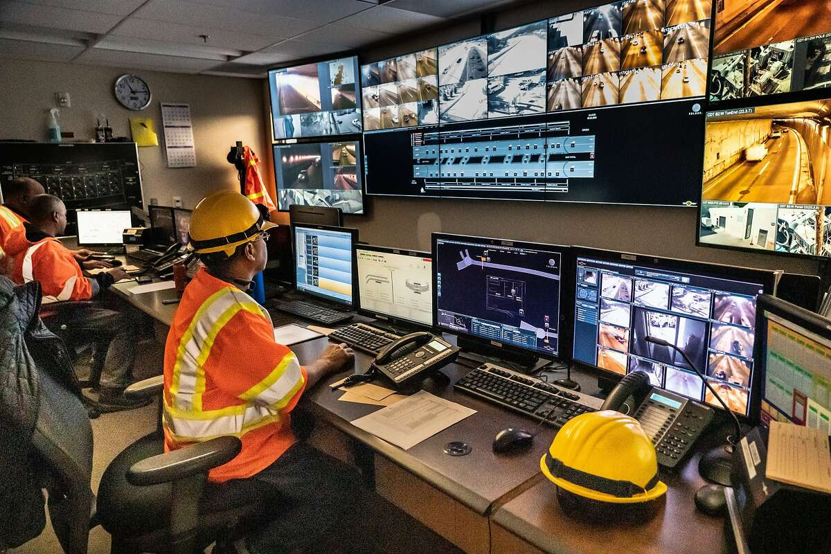 Caltrans employees monitor the Caldecott Tunnels being powered by generators on Wednesday, Oct. 9, 2019, in Oakland, Calif.