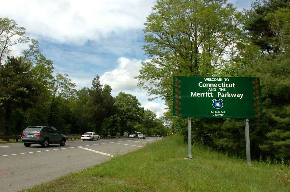 Motorists cruise along the scenic Merritt Parkway as it enters Connecticut in Greenwich.