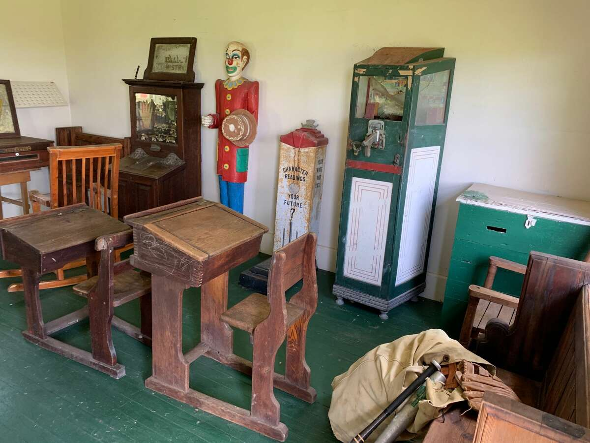 Old student desks and other pieces of Texana will be auctioned.