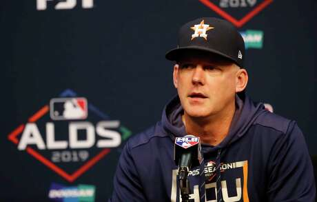 Houston Astros manager AJ Hinch speaks to the media during the Astros press conference at Minute Maid Park, Wednesday, Oct. 9, 2019, in Houston.