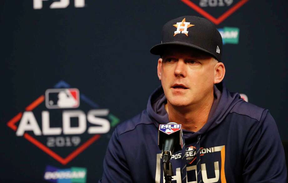 Houston Astros manager AJ Hinch speaks to the media during the Astros press conference at Minute Maid Park, Wednesday, Oct. 9, 2019, in Houston. Photo: Karen Warren, Staff Photographer / © 2019 Houston Chronicle