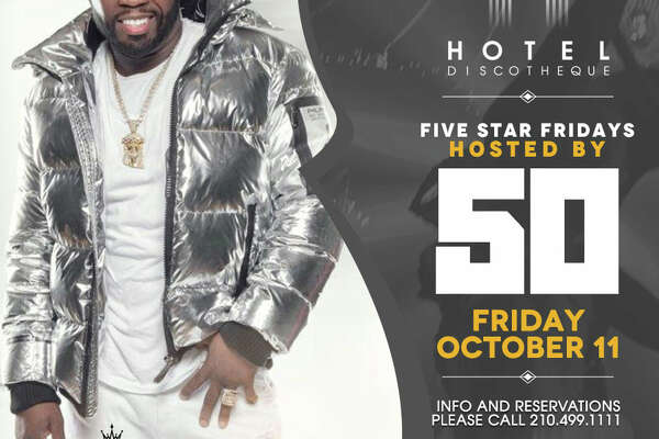 "Hotel Discotheque, the Stone Oak nightclub, announced 50 Cent will host ""Five Star Fridays"" on Oct. 11. Club-goers are invited out to the 18326 Tuscany Stone club for the chance to see 50 Cent. Tickets are $25 a person and can be purchased online."