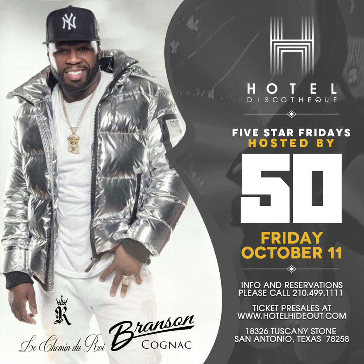 """Hotel Discotheque, the Stone Oak nightclub, announced 50 Cent will host """"Five Star Fridays"""" on Oct. 11. Club-goers are invited out to the 18326 Tuscany Stone club for the chance to see 50 Cent. Tickets are $25 a person and can be purchased online."""