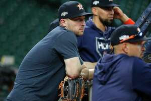 Houston Astros Alex Bregman watches batting practice during optional workouts at Minute Maid Park, Wednesday, Oct. 9, 2019, in Houston.