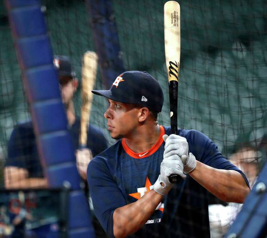 Houston Astros Michael Brantley takes batting practice during optional workouts at Minute Maid Park, Wednesday, Oct. 9, 2019, in Houston.