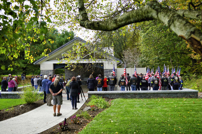 People gather for the funeral service of veteran Ambrose Jacob at the Gerald B.H. Solomon Saratoga National Cemetery on Wednesday, October 9, 2019, in Schuylerville, N.Y. (Paul Buckowski/Times Union)