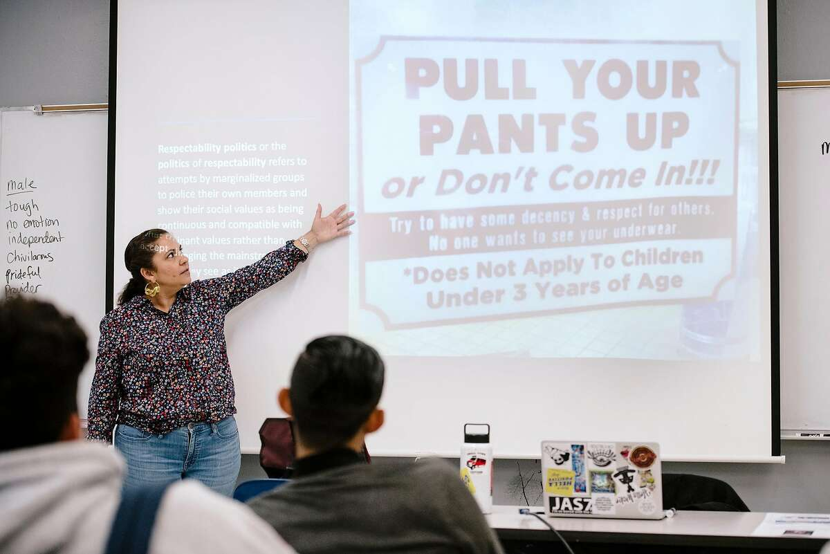 College of Ethnic Studies' Charity DaMarto teaches a critical thinking class at San Francisco State University in San Francisco, California, on Friday, Oct. 4, 2019.