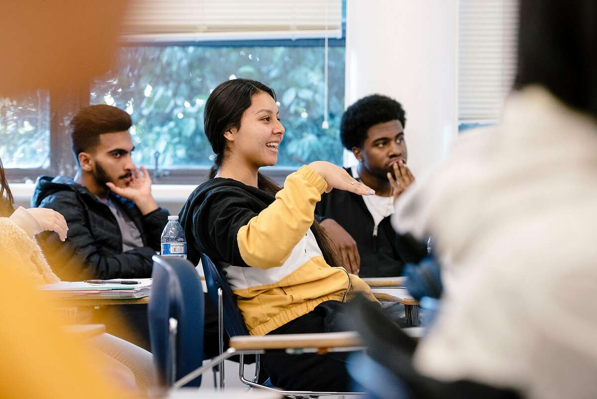 Freshman student Emily Leon answers a question during an ethnic studies class at the College of Ethnic Studies at San Francisco State University in San Francisco, California, on Friday, Oct. 4, 2019.