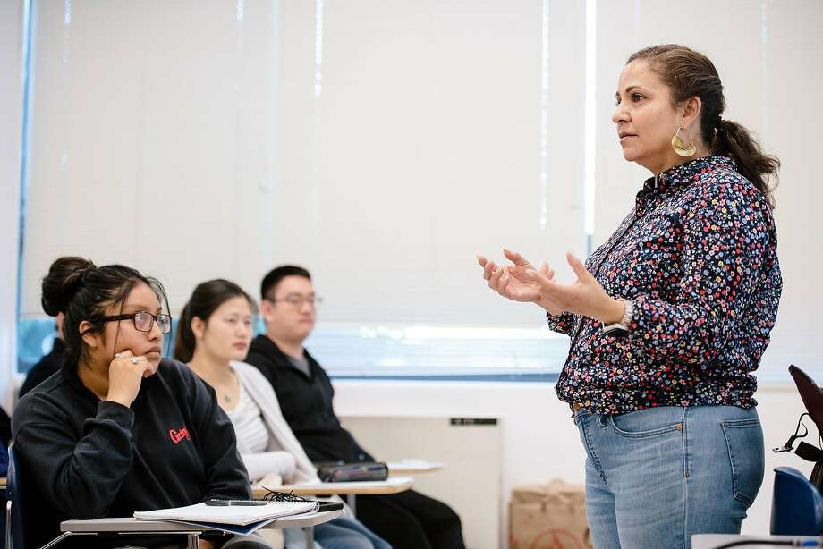 College of Ethnic Studies' Charity DaMarto teaches a critical thinking class at San Francisco State University in San Francisco, California, on Friday, Oct. 4, 2019. Photo: Michael Short / Special To The Chronicle