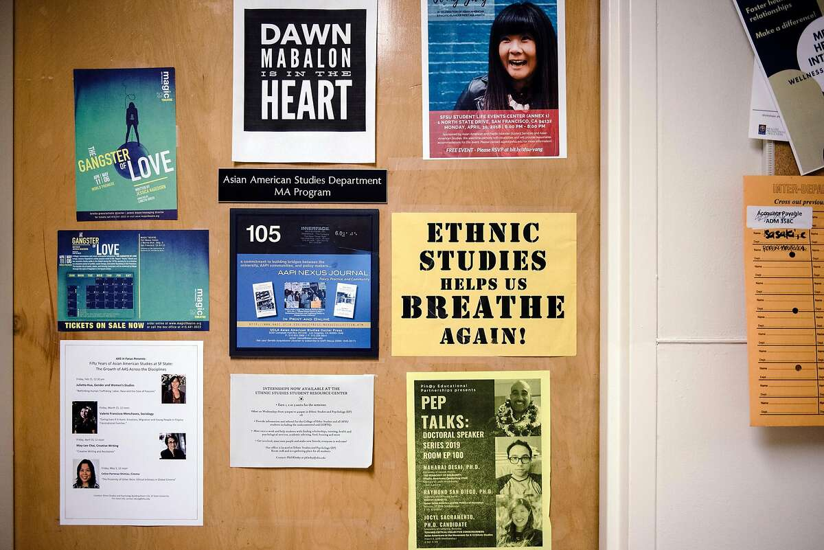 Signs are seen in the College of Ethnic Studies building at San Francisco State University in October 2019. On Wednesday, Gov. Gavin Newsom vetoed a bill that would have required high school students in California to take an ethnic studies course to graduate.
