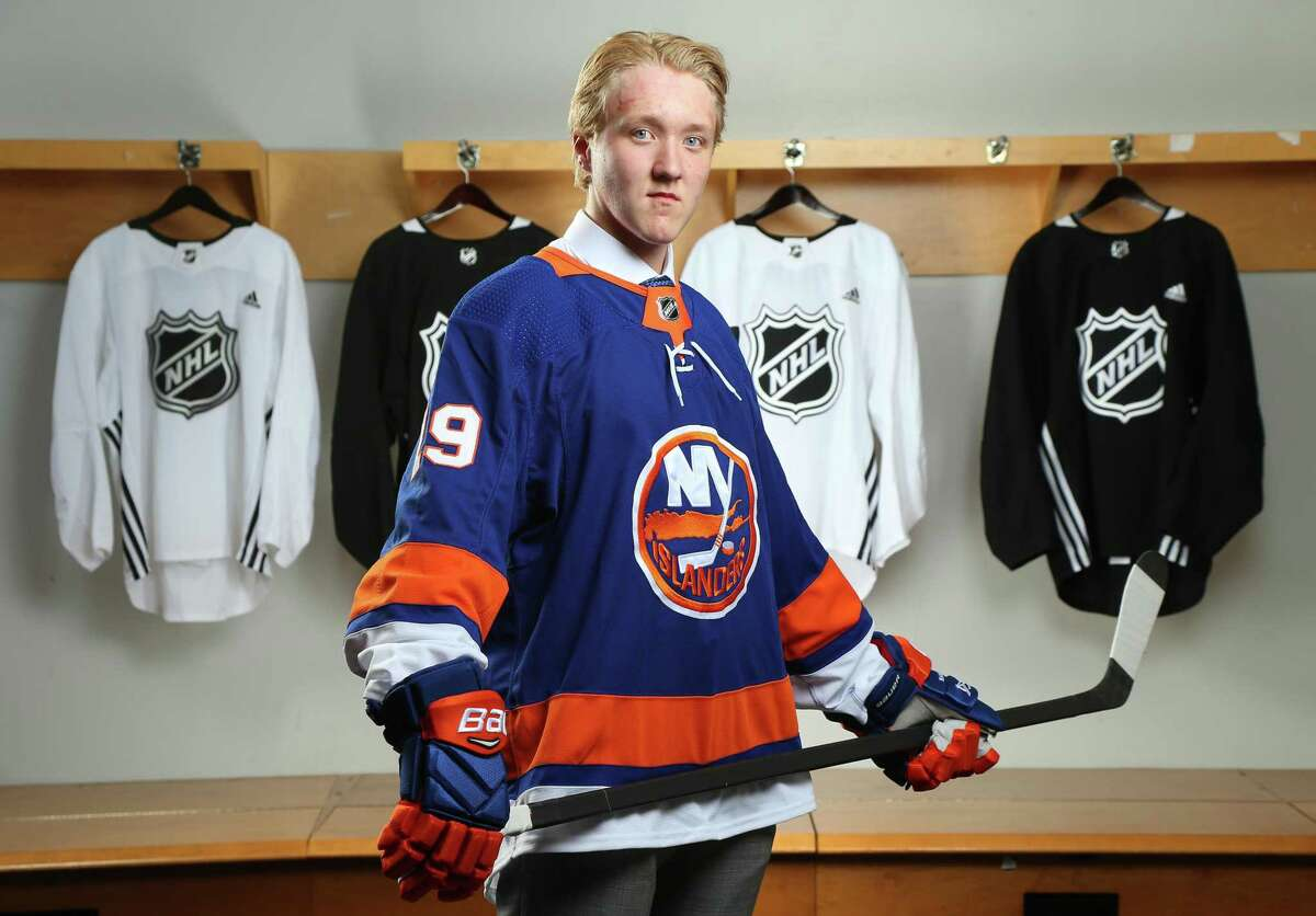 Simon Holmstrom, 23rd overall pick of the New York Islanders, poses for a portrait during the 2019 NHL Draft at Rogers Arena on June 21 in Vancouver, Canada.
