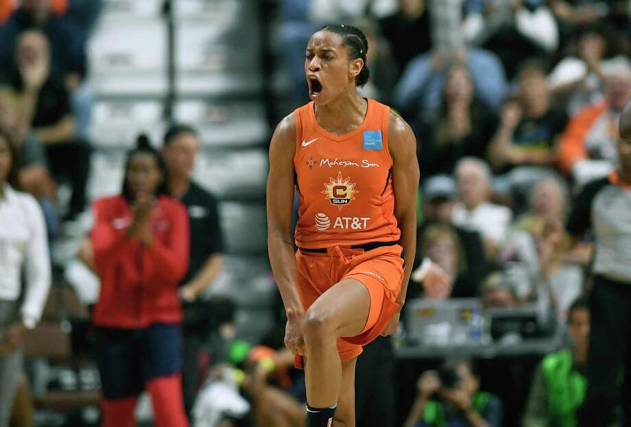 Connecticut Sun's Jasmine Thomas celebrates after sinking a shot during the second half in Game 4 of basketball's WNBA Finals against the Washington Mystics, Tuesday, Oct. 8, 2019, in Uncasville, Conn. (AP Photo/Jessica Hill) Photo: Jessica Hill / Associated Press / Copyright 2019 The Associated Press. All rights reserved