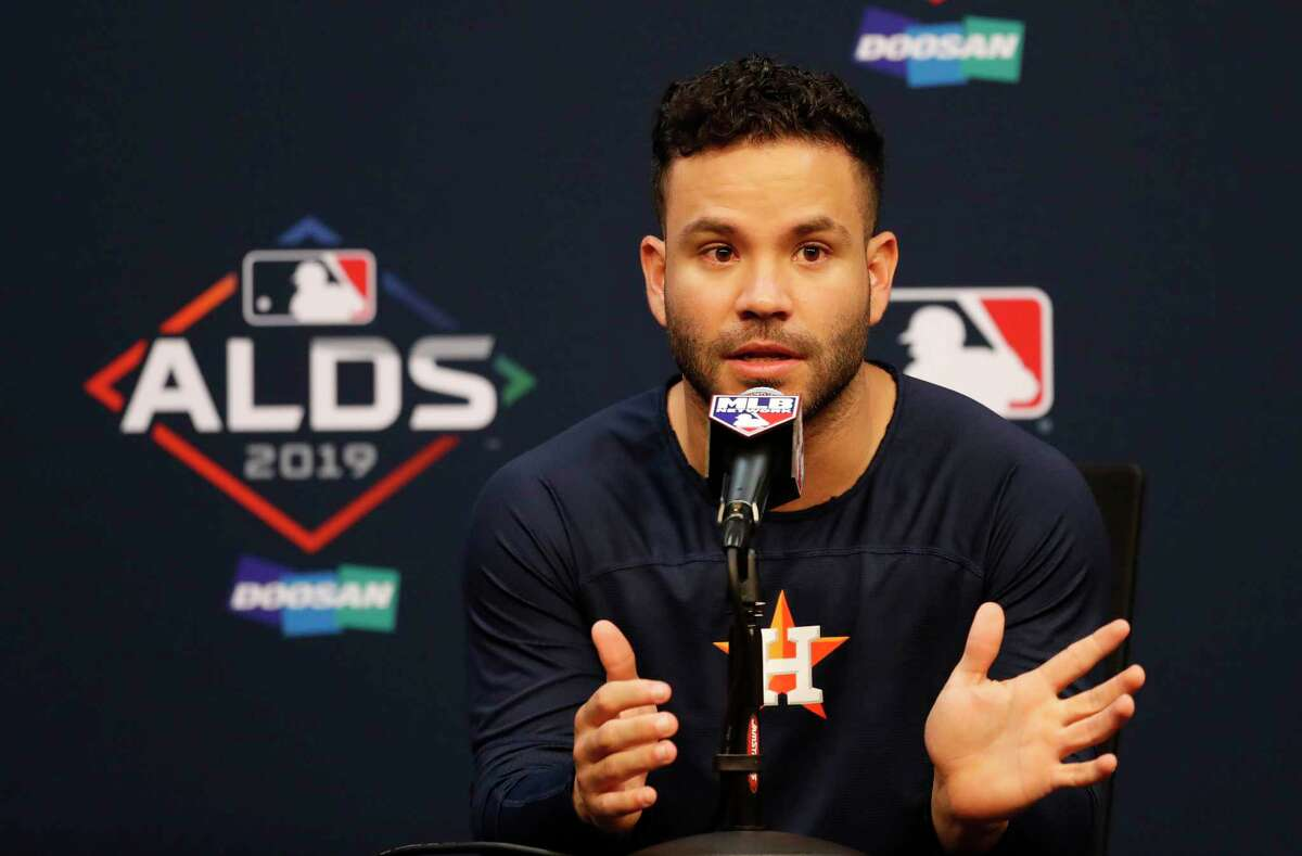 Astros second baseman Jose Altuve, who is hitting .313 with two home runs in the ALDS against the Rays, addresses the media Wednesday at Minute Maid Park.