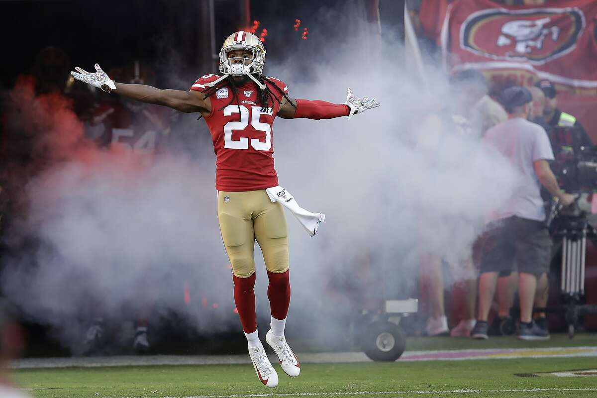 San Francisco 49ers cornerback Richard Sherman (25) is introduced before an NFL football game against the Cleveland Browns in Santa Clara, Calif., Monday, Oct. 7, 2019. (AP Photo/Ben Margot)