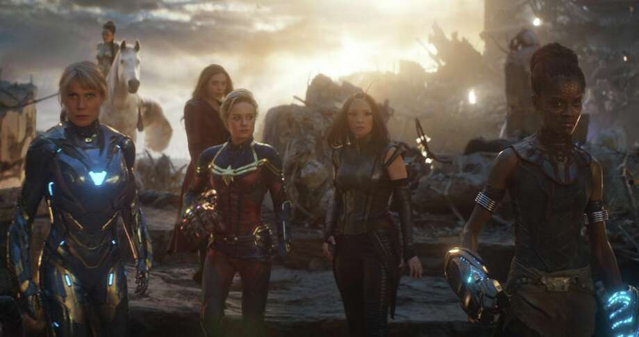 The women of Marvel are ready to fight in Avengers: Endgame -- Pepper Potts in rescue suit (Gwyneth Paltrow), Valkyrie (Tessa Thompson), Scarlet Witch (Elizabeth Olsen), Captain Marvel (Brie Larson), Mantis (Pom Klementieff) and Shuri (Letitia Wright). Photo: Marvel Studios