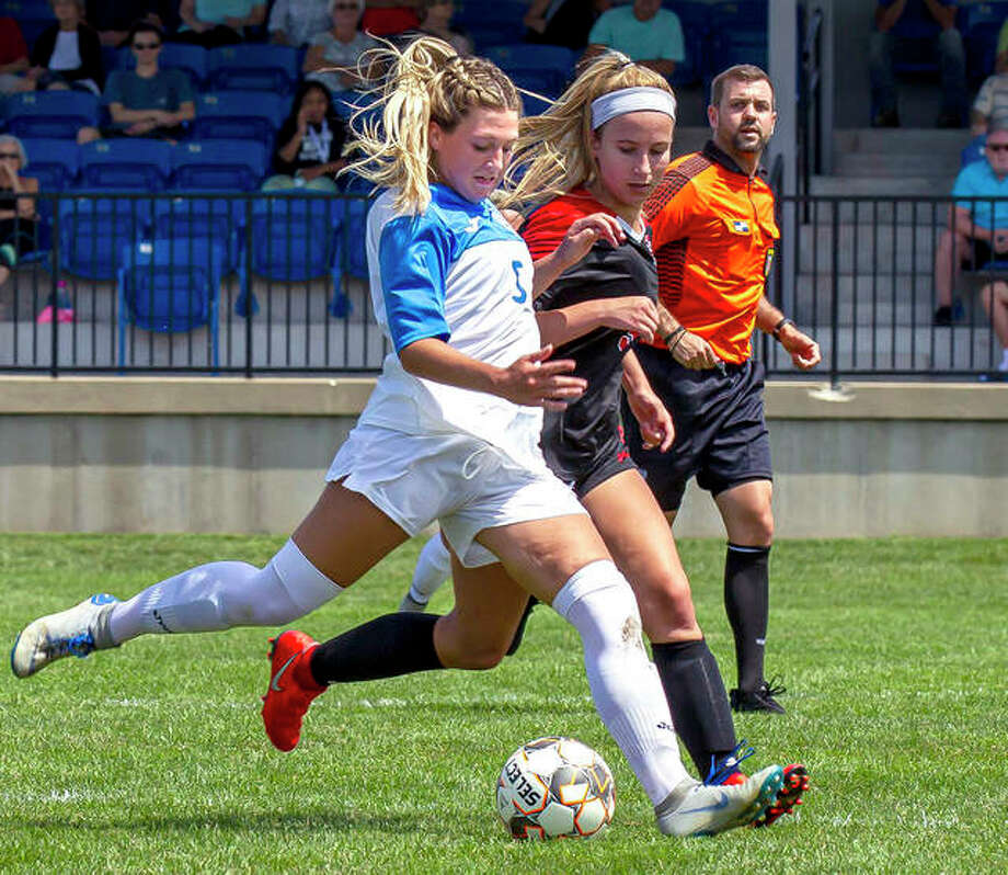 Lewis and Clark Community College's Sydney Schmidt (5), a sophomore from Alton High, prepares to send the ball upfield during a game earlier this season. Photo: Jan Dona | For The Telegraph