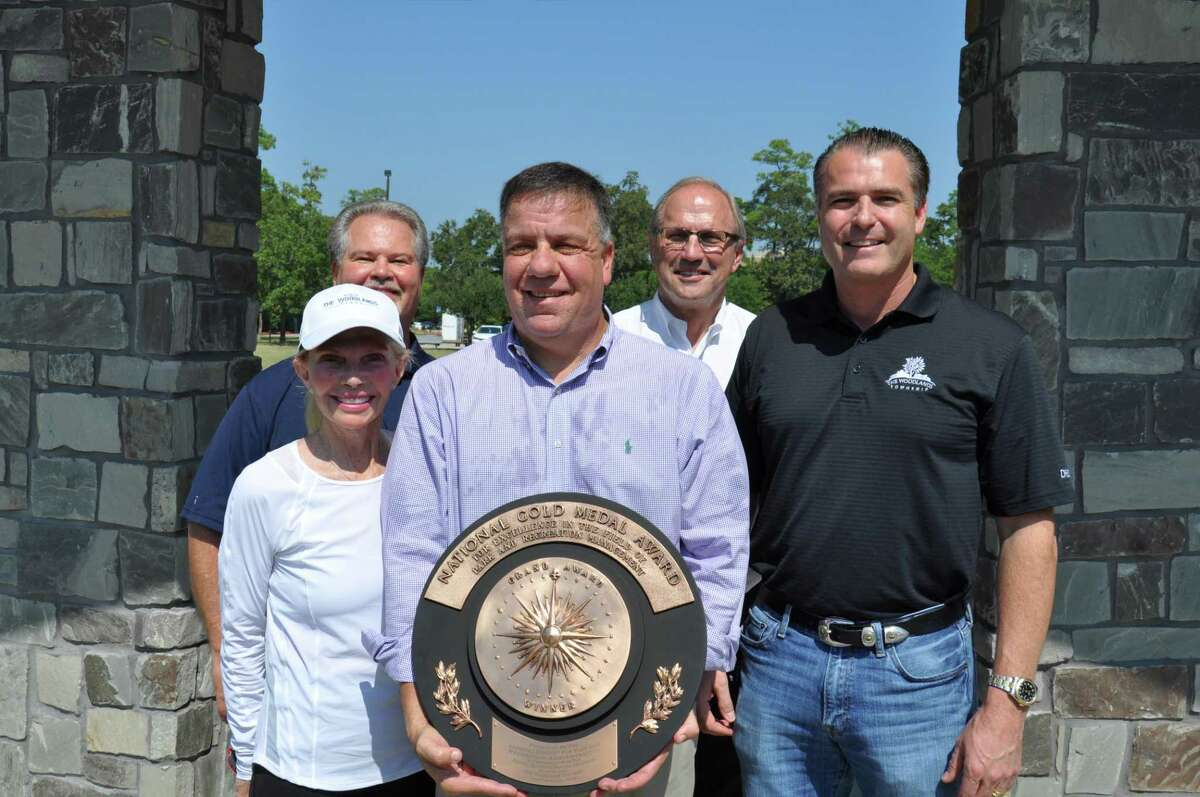 The Woodlands Township Parks and Recreation Department nabbed the 2019 National Gold Medal Award Grand Plaque for Excellence in Park and Recreation Management at a recent national conference in Maryland. Pictured (left to right) with the award, are Township Director Ann Snyder, Assistant General Manager John Powers, Director of Parks and Recreation Chris Nunes, General Manager and President Don Norrell and Township Board of Directors Chairman Gordy Bunch.