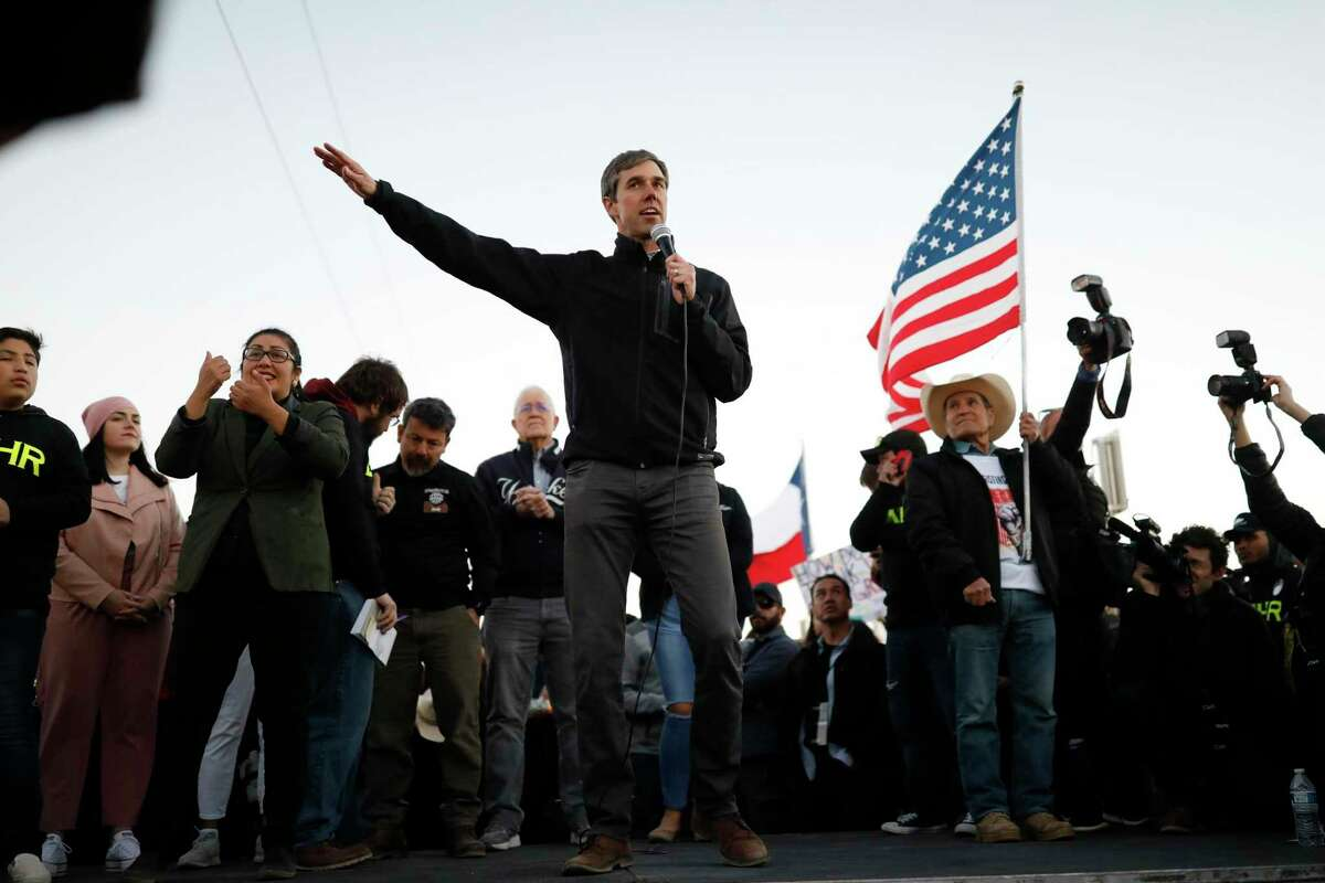Beto O'Rourke addresses the crowd during a rally Monday, February 11, 2019, in El Paso, TX.