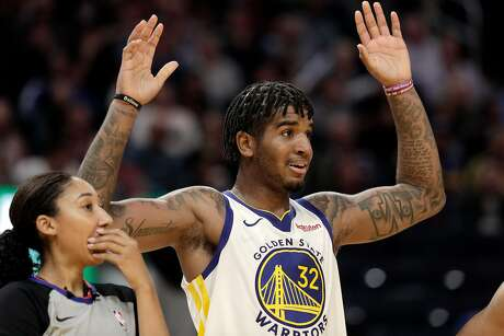 Marquese Chriss (32) reacts to a foul call against him In the second half as the Golden State Warriors played the Los Angeles Lakers in a pre-season game at Chase Center in San Francisco, Calif., on Saturday, October 5, 2019.