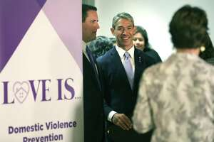 Mayor Ron Nirenberg, center, City Manager Erik Walsh, left, and Assistant City Manager Colleen Bridger, right, unveiled a new domestic violence awareness campaign earlier this month. Community members are invited to participate in filming segments for the campaign Thursday at The Pearl.