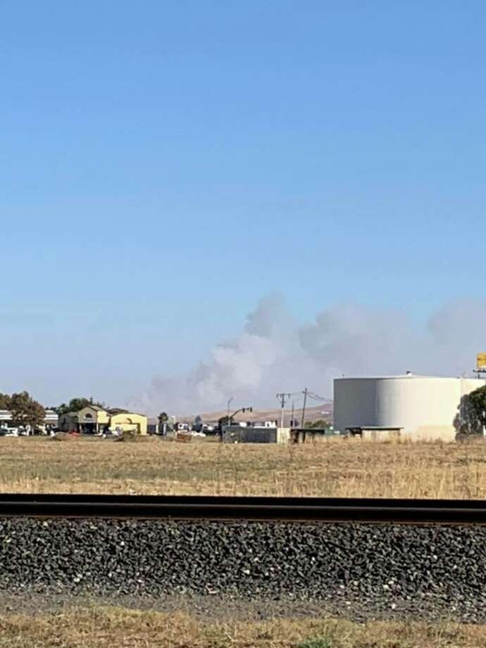 A vegetation fire in Solano County has broken out in the area of Highways 12 and 113, according to the Solano County Sheriff's Office. Photo: Solano County Sheriff's Office