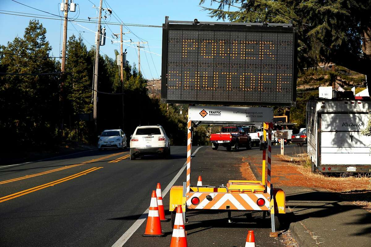 Traffic sign on Monticello Road notifying of PG&E power shutoff In Napa, Calif., on Wednesday, October 9, 2019.