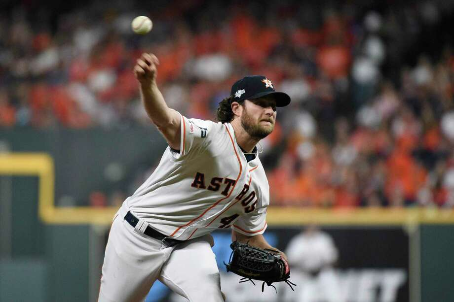 In this Oct. 5, 2019 file photo, Houston Astros starting pitcher Gerrit Cole delivers to a Tampa Bay Rays batter during the first inning during Game 2 of a baseball American League Division Series in Houston. The Astros and their heavyweight rotation have only one chance left to knock out the pesky Rays. It's up to Gerrit Cole in Game 5 on Thursday. Photo: Eric Christian Smith, FRE / Associated Press / Copyright 2019 The Associated Press. All rights reserved.