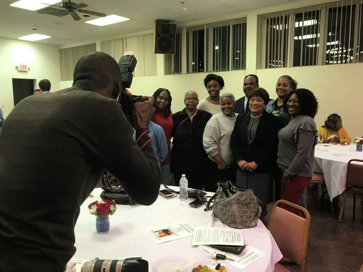 New Haven Mayor Toni Harp stands with supporters at the Harp appreciation event on Wednesday.