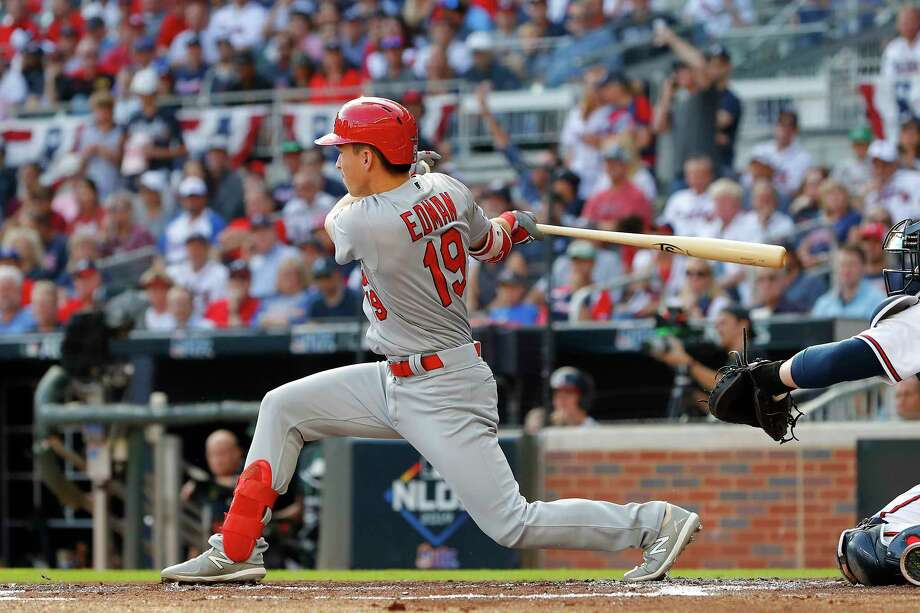 ATLANTA, GEORGIA - OCTOBER 09:  Tommy Edman #19 of the St. Louis Cardinals hits a two-RBI double against the Atlanta Braves during the first inning in game five of the National League Division Series at SunTrust Park on October 09, 2019 in Atlanta, Georgia. (Photo by Kevin C. Cox/Getty Images) Photo: Kevin C. Cox / 2019 Getty Images