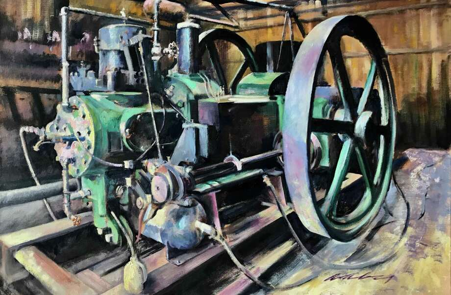 "A new collection of oil paintings by artist James Aaby will be on display at Washington's Gunn Memorial Library Stairwell Gallery through Oct 26. Above is Aaby's ""Green Monster."" Photo: Courtesy Of Gunn Memorial Library / The News-Times Contributed"