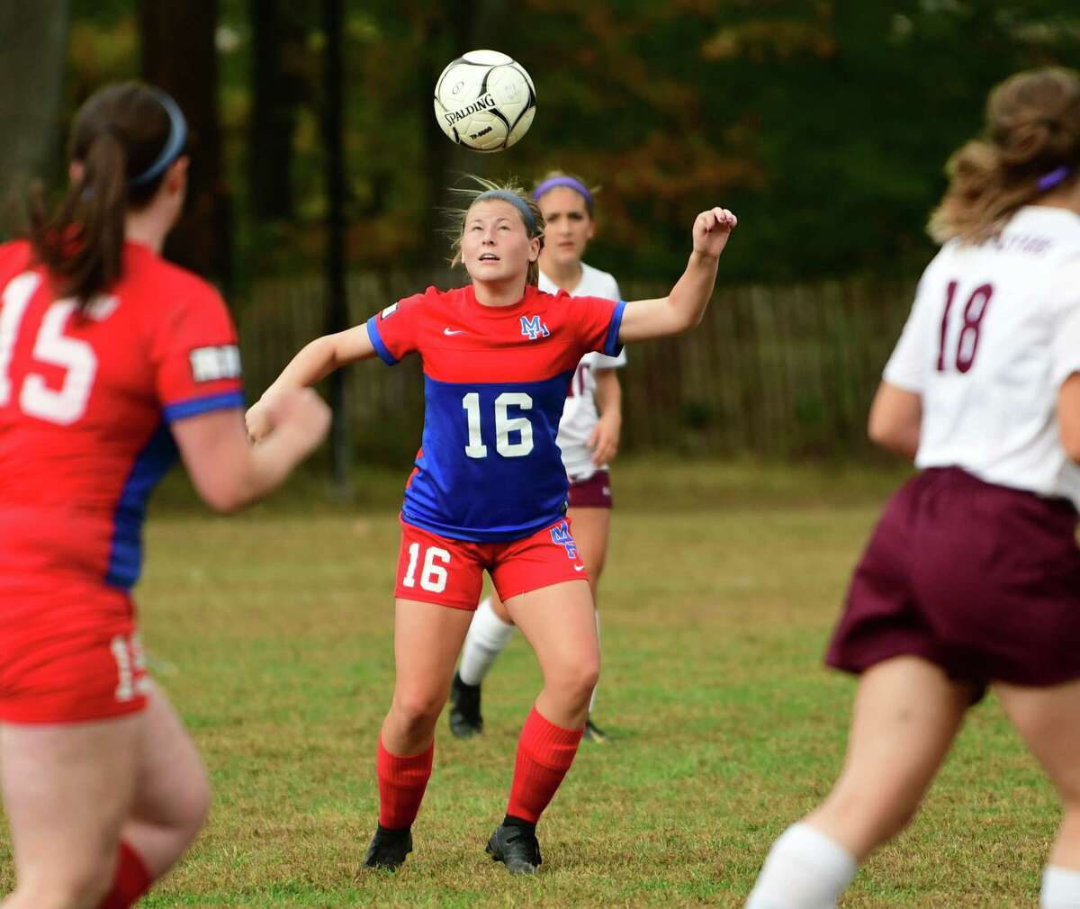 Maple Hill's Alayna Fletcher heads the ball during a soccer game with Greenville on Wednesday Oct. 9, 2019 in Schodack, N.Y. (Lori Van Buren/Times Union)
